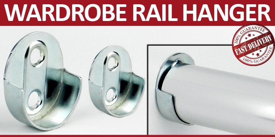 2 wardrobe rail hanger rod socket fittin standard support. Black Bedroom Furniture Sets. Home Design Ideas