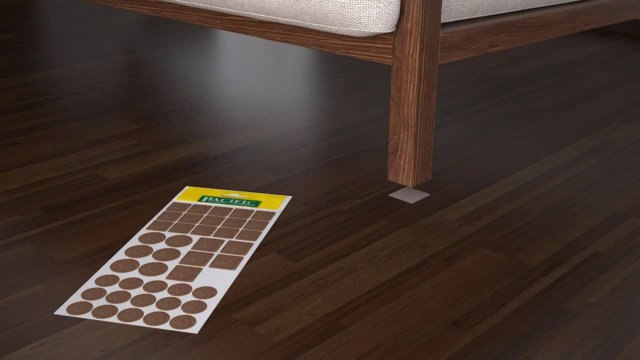 Brown Square Felt Furniture Pads Self Adhesive Chair Leg